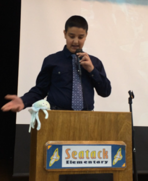 A Seatack Elementary 4th grader discusses his solutions to ocean pollution.